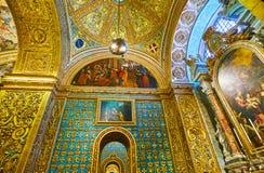 意大利的Langue教堂内部,圣约翰的共同大教堂在瓦莱塔,马耳他 库存图片