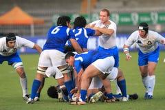 意大利符合橄榄球萨摩亚sapolu测试与 免版税图库摄影