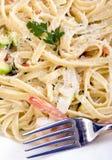 意大利细面条三文鱼虾 库存照片