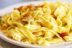 意大利细面条盘用蕃茄金枪鱼调味汁,食物接近  免版税图库摄影