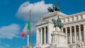 意大利罗马 与维托里奥Emanuele II国王timelapse硕大骑马雕象的著名Vittoriano  影视素材