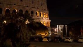 意大利罗马 罗马斗兽场在晚上 股票视频
