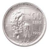 意大利老硬币 免版税库存图片