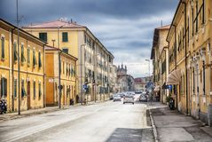 意大利老镇里窝那街道  库存照片