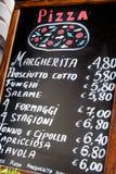意大利菜单被暴露餐馆外 库存图片