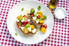 意大利蕃茄乳酪便餐红色布料 库存照片