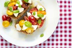 意大利蕃茄乳酪便餐红色布料 库存图片