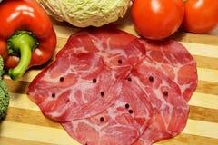 意大利语切的coppa猪肉熏火腿 库存图片