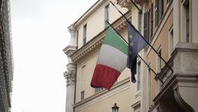 意大利语和欧盟旗子 股票视频