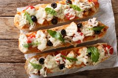 意大利语将薄饼砂锅夹在中间:切长方形宝石烘烤与别致 免版税图库摄影