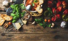 意大利语烤了在碗,拷贝空间的蕃茄和大蒜汤 免版税库存图片
