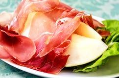 意大利语的开胃小菜 火腿瓜 免版税库存图片