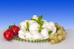 意大利语food fior di水牛无盐干酪latte  库存图片