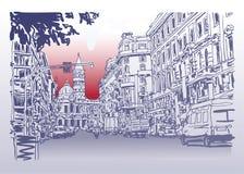 意大利路都市风景修造都市建筑略图  库存例证