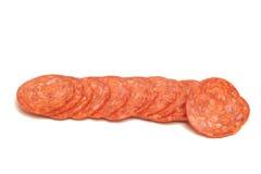 意大利辣味香肠片式 库存照片