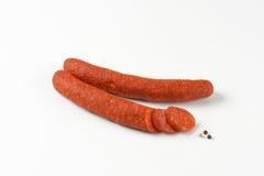 意大利辣味香肠香肠 库存图片