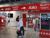 意大利运输公司Italo售票处 免版税库存照片