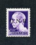 1943年意大利邮票:1里拉套印GNR 免版税库存照片