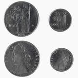 100意大利里拉硬币 免版税库存照片