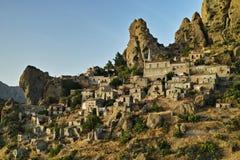 意大利镇Pentedattilo,意大利,欧洲 免版税图库摄影