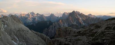 意大利阿尔卑斯、Marmarole和Cadini 库存照片