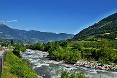 意大利阿尔卑斯自行车足迹在梅拉诺 库存图片