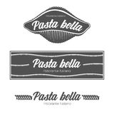 意大利面团餐馆徽章 免版税库存图片
