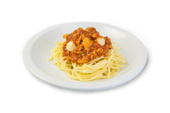 意大利面条酱,在白色背景的蕃茄 免版税库存图片
