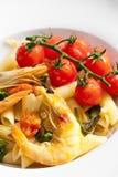 意大利面食大虾 库存图片