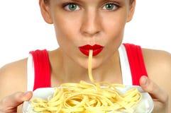 意大利面食妇女 免版税库存图片