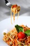 意大利面食服务 免版税图库摄影