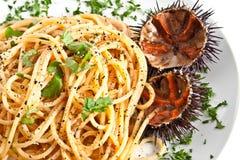 意大利面食海胆 免版税库存图片
