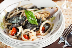 意大利面食海鲜 免版税库存照片