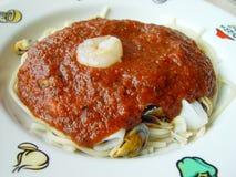 意大利面食海鲜 库存照片