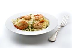 意大利面食牌照虾 库存图片