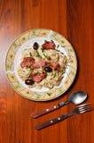 意大利面食牌照顶视图 免版税库存照片