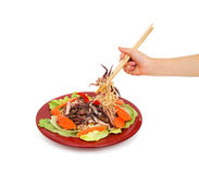 意大利面食用海鲜 免版税库存图片