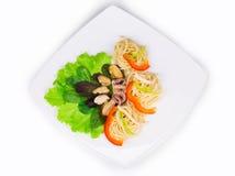 意大利面食用海鲜 图库摄影