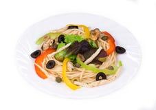 意大利面食用海鲜 库存图片