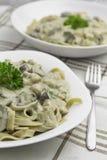 意大利面食用蘑菇酱油 免版税库存图片