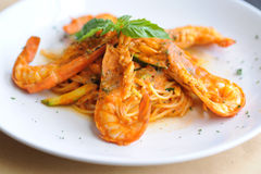 意大利面食用虾 免版税图库摄影