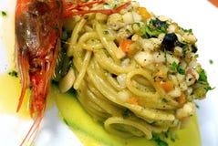 意大利面食用虾 图库摄影