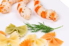 意大利面食用虾 免版税库存图片