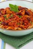 意大利面食用西红柿酱 免版税库存照片