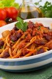 意大利面食用西红柿酱 库存照片