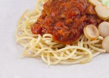 意大利面食用西红柿酱 库存图片