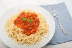 意大利面食用西红柿酱 图库摄影