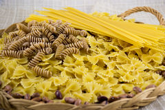 意大利面食的多种类型 免版税库存图片