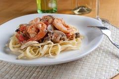 意大利面食虾 库存图片