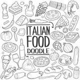 意大利食物传统乱画象手凹道集合 库存图片